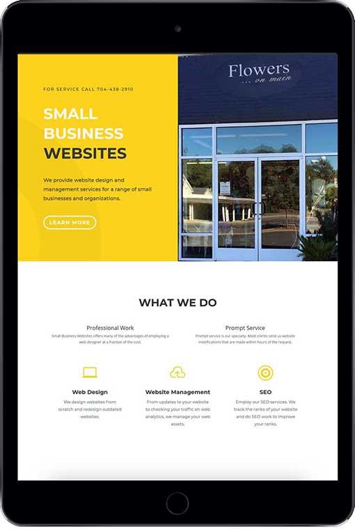 Custom designed responsive website on a tablet