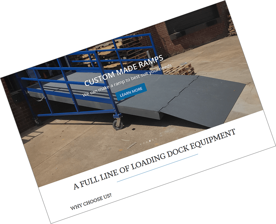 A website for a small dock equipment business.