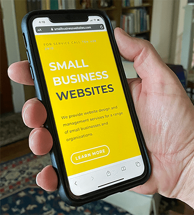 Small Business Websites on a mobile device