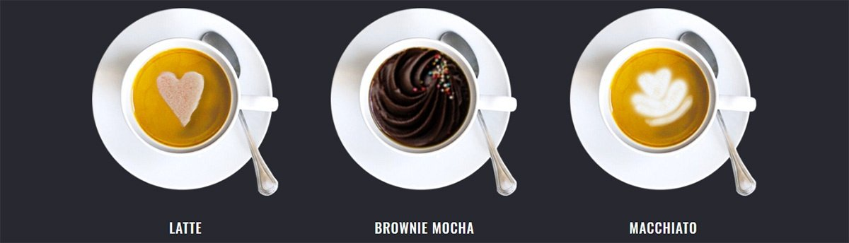 Display of coffee for a website