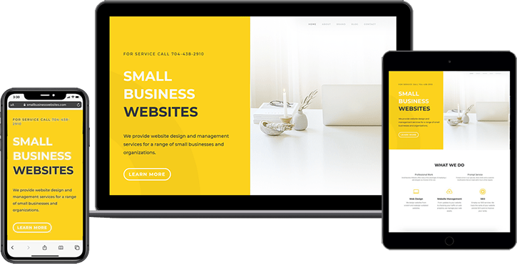 Small business websites on multiple devices