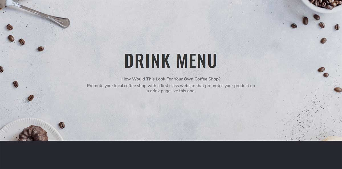 Web page for a drink menu