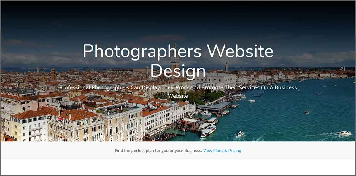 Photography site page example