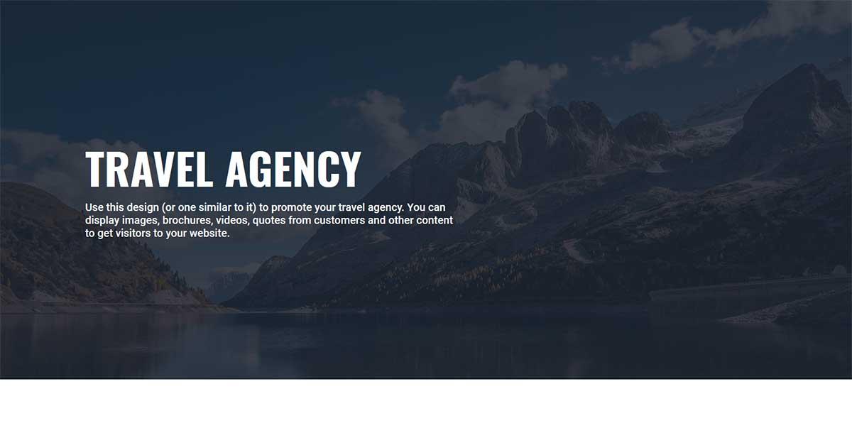 Travel Agenty website design example